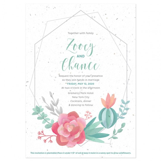 These artistic and elegant wedding invitations are both stylish and eco-friendly since they are embedded with wildflower seeds that will grow when planted.