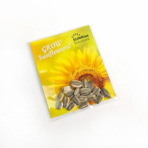 Share sunflower seeds for a cheerful spring or summer promotion.