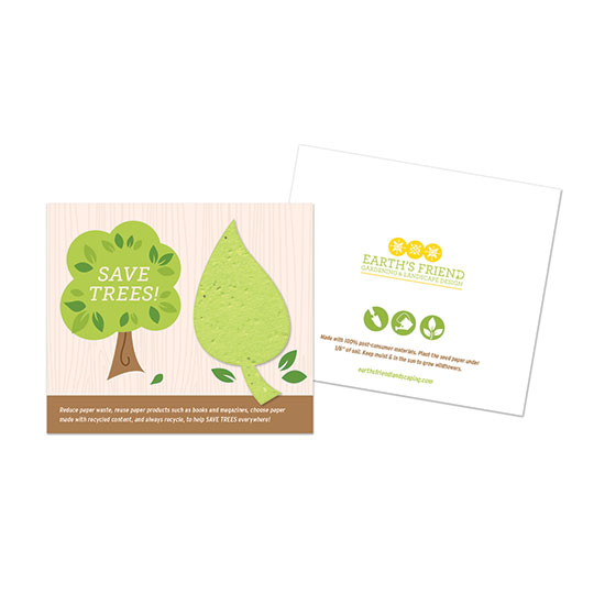 Share an important message about reducing paper waste and recycling to help SAVE TREES with these unique Save Trees Plantable Leaf Cards.