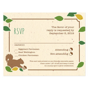 These Rustic Tree Plantable Reply Cards are plantable so you'll get to grow a whole garden of wildflowers from the replies you collect from your guests.