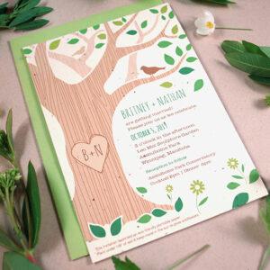 Rustic Tree Plantable Wedding Invitation