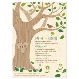 Rustic Tree Plantable Wedding Invitations are printed on biodegradable seed paper so your guests will be able to plant them after.