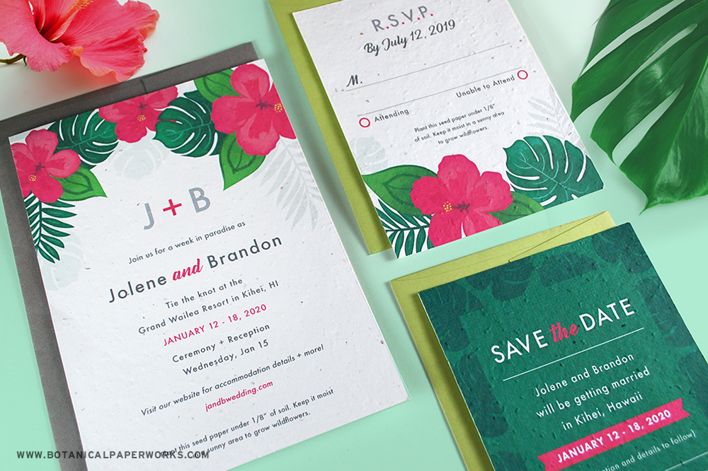 seed paper wedding stationery for tropical destination weddings in paradise