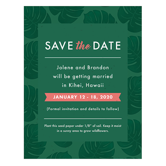 A flower lover's dream, these lush and vibrant Tropical Blooms Plantable Save The Date Cards have NON-GMO seeds within the paper itself that will grow real flowers.