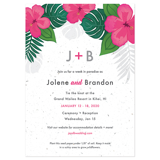 Invite your guests to a wedding in paradise with these beautiful Tropical Blooms Plantable Wedding Invitations that can be planted to grow wildflowers!
