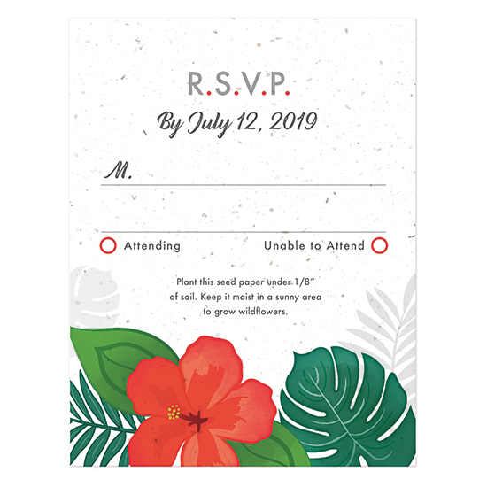 Designed to match the Tropical Blooms Plantable Wedding Invitations, these vibrant reply cards will collect your responses for your destination wedding and will also grow a whole garden of wildflowers!