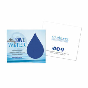 Designed to encourage water conservation, these unique Water Conservation Plantable Droplet Cards feature a royal blue water droplet on the front with a custom message and URL as well as your logo on the back.