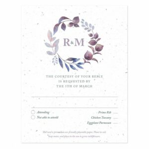 Complete your Watercolor Leaves Plantable Wedding Invitations with a matching reply card that will collect your replies and grow a garden of flowers!
