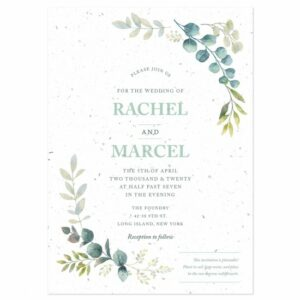 Delicate and artistic, these seed paper wedding invitations have a natural beauty that is both stylish and romantic.