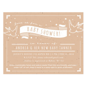 These Whimsical Seed Paper Baby Shower Invitations are printed on eco-friendly seed paper that actually grows.