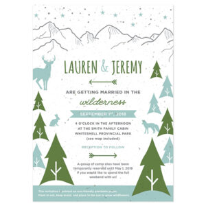These Wilderness Plantable Wedding Invitations have charming woodsy touches and are printed on eco-friendly seed paper.