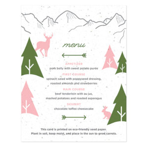 These Wilderness Plantable Menu Cards are printed on carrot paper!