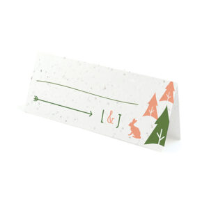 Welcome your guests in the most adorable way with these eco-friendly Wilderness Plantable Place Cards that also act as a wedding favor.