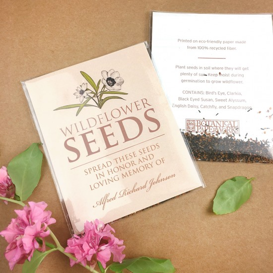 After the service is over, those grieving can take the Wildflower Seed Packet Memorial Favors home to sprinkle the seeds and watch as they blossom into an array of colorful wildflowers.