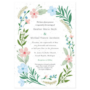 These illustrated Wildflower Plantable Wedding Invitations are the perfect touch for a garden style, park or prairie wedding.