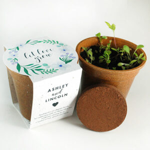 These zero-waste Wildflower Planting Kit Wedding Favors are a beautiful and symbolic gift that your friends and family will love to receive.