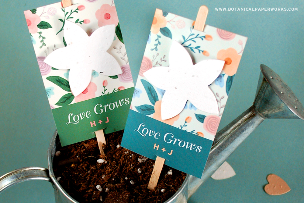 wildflower planting sticks for wedding favors