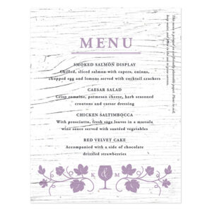 Since the paper is plantable carrot seed paper, guests get to take these Winery Seed Paper Menu Cards home to plant them in their gardens.