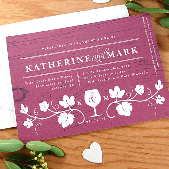 Perfect for a classy event at a winery, these Winery Seed Paper Wedding Invitations will share your wedding details in a stylish and eco-friendly way.