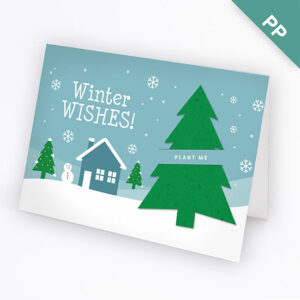 These charming Winter Wishes Business Holiday Cards feature a plantable evergreen tree tucked into a slot on the front of the card.