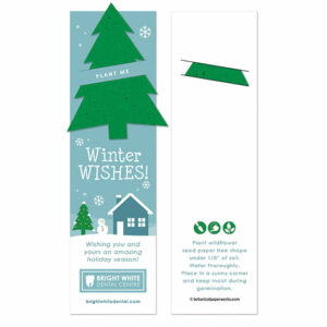 Recipients can use these Winter Wishes Holiday Bookmarks with Slot to mark their page and plant the tree shape to grow wildflowers.