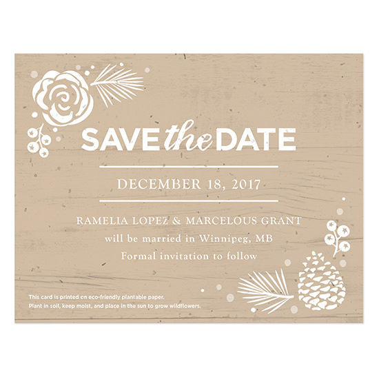 These Winter Wonderland Plantable Save The Date Cards are created with biodegradable materials, your wedding guests will be able to plant the seed paper to grow wildflowers as they await your winter wedding.