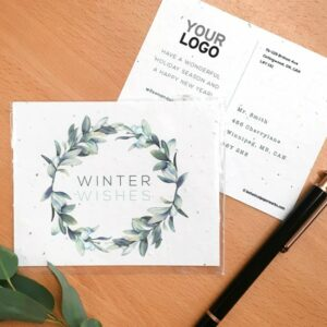 Share a beautifully illustrated winter greeting and give the gift of wildflowers with these plantable holiday postcards that can be branded with your logo and URL.