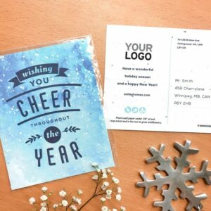 Send clients and colleagues good cheer in a fun and eye-catching way with these branded seed paper holiday postcards that give and grow wildflowers.