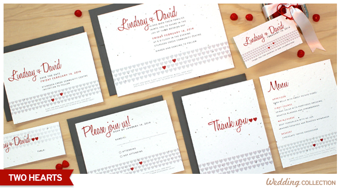 These Two Hearts Plantable Wedding Invitations are embedded with high quality North American wildflower seeds, and will grow a beautiful bouquet when planted.
