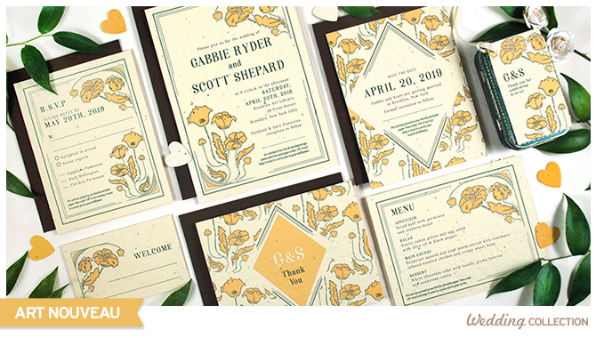 These Art Nouveau Plantable Wedding Invitations can be planted to grow wildflowers, so guests will have a blooming memento of your special day without any waste.