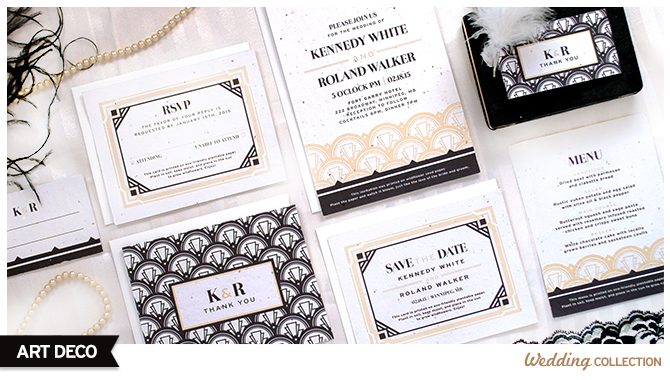 These Art Deco Plantable Wedding Invitations can be planted to grow wildflowers, so guests will have a blooming memento of your special day without any waste.
