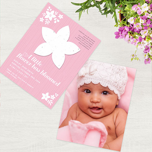 A card with a plantable seed shape to celebrate a new baby.