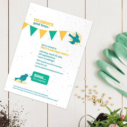 Birthday party invitations printed on seed paper that grows.