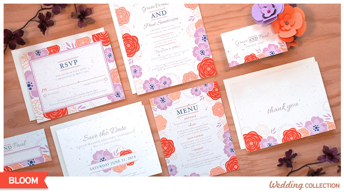 Not only does the design on these Bloom Seed Paper Wedding Invitations feature beautiful flowers, but the paper itself is made from seed paper and will grow wildflowers when planted.
