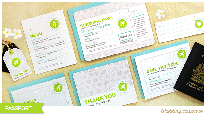 These Boarding Pass Seed Paper Wedding Invitations can be planted to grow wildflowers, so guests will have a blooming memento of your special day without any waste.