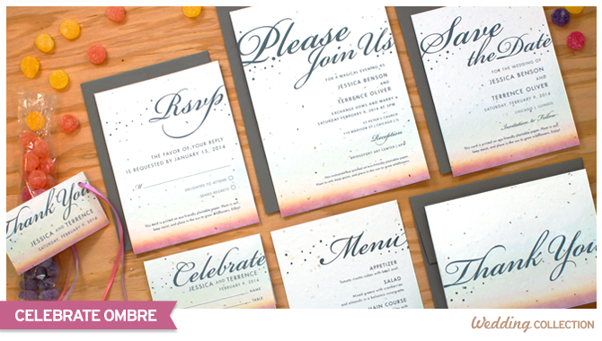 These Celebrate Ombre Plantable Wedding Invitations are both chic and eco-friendly.