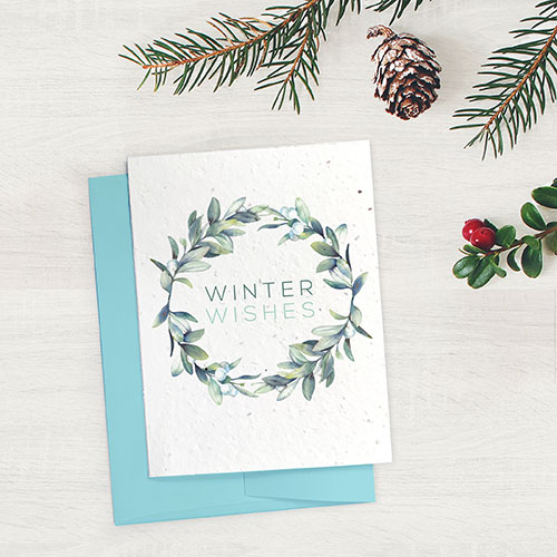 Eco-friendly and plantable seed cards for the holiday season.