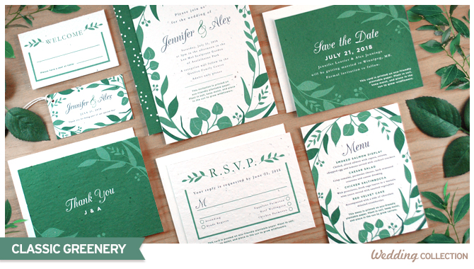 The Classic #Greenery #SeedPaper Wedding Collection features lush leaves for a fresh and natural feeling