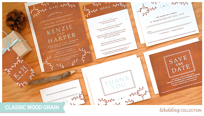 These Classic Wood Grain Plantable Wedding Invitations are perfect for a rustic chic wedding and are 100% eco-friendly.