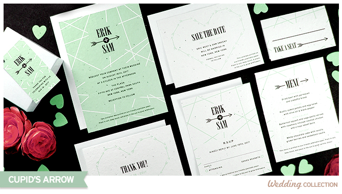 These Cupid's Arrow Plantable Wedding Invitations are embedded with seeds that grow wildflowers when planted.