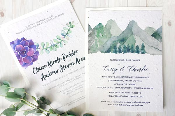 Custom Seed Paper Wedding Invitations from Botanical PaperWorks