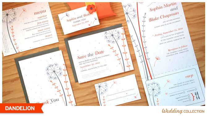These Dandelion Seed Paper Wedding Invitations grow wildflowers when planted.