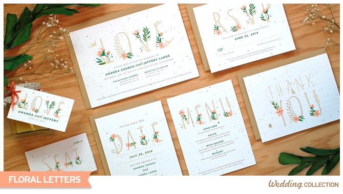 The flowers of these Floral Letters Plantable Wedding Invitations are both in the ornamentation and in the paper - each invitation is embedded with wildflower seeds.
