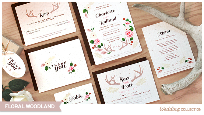 These Floral Woodland Plantable Wedding Invitations are well suited to natural, woodsy, outdoor and eco-friendly couples.