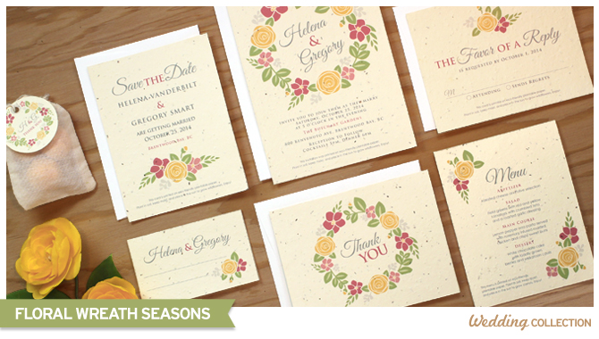 When the lucky recipients plant these Floral Wreath Seed Paper Wedding Invitations they'll grow their own bounty of flowers.