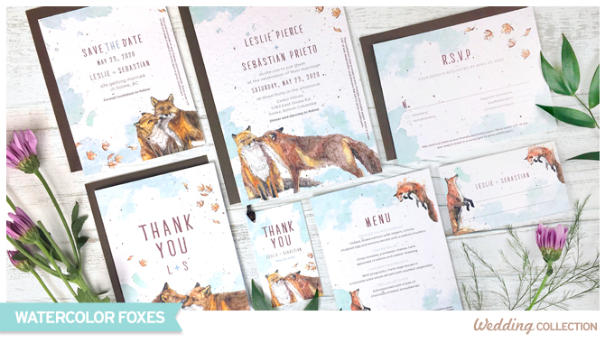 A seed paper wedding collection for outdoorsy couples planning a nature or woodland-inspired wedding day!