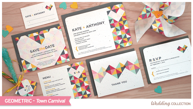 These Geometric Seed Paper Wedding Invitations are colorful, fun and eco-friendly too!
