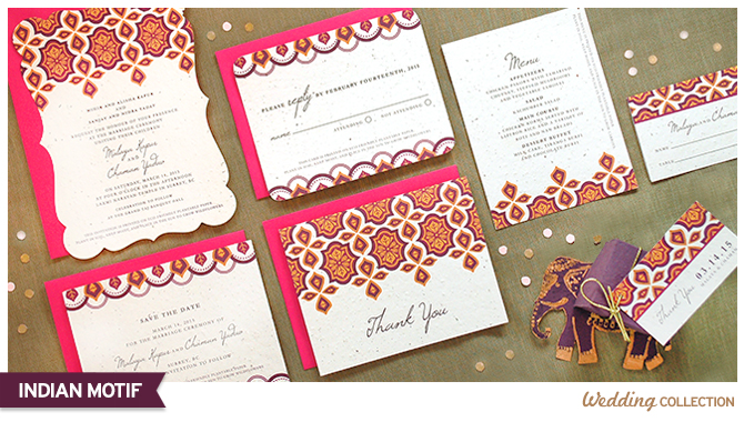 These Indian Motif Plantable Wedding Invitations are printed on premium seed paper, so your guests can plant them to grow a beautiful bouquet of colorful wildflowers.
