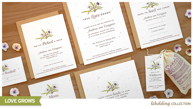 These Love Grows Seed Paper Wedding Invitations are embedded with wildflower seeds, so when your lucky guests plant the invitation, the paper will grow into a bouquet of colorful flowers.