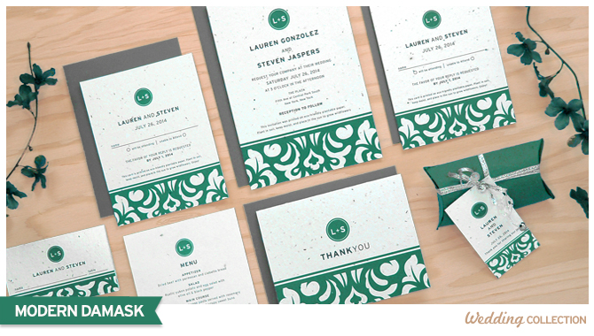 These Modern Damask Plantable Wedding Invitations are eco-friendly and are printed on seed paper that will grow wildflowers when planted.